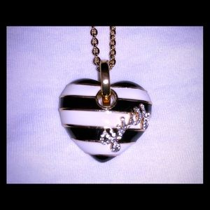 Juicy Couture Black/White Striped Heart Necklace